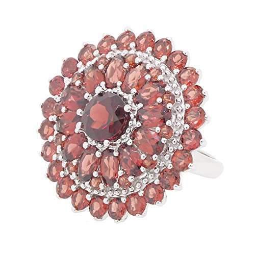 BL Jewelry Sterling Silver Genuine Garnet Double Row Halo Dome Ring 8 1 3 CT.T.W