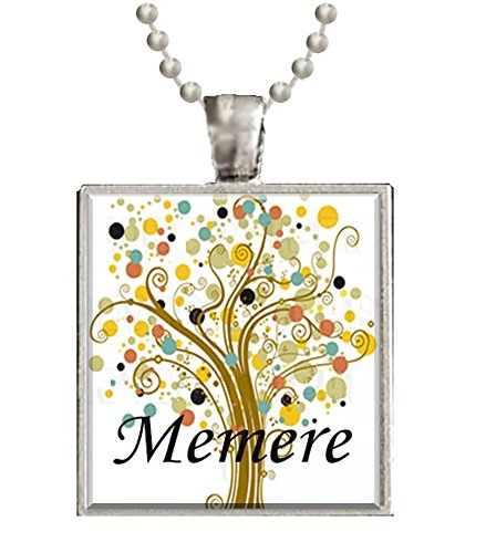 Memere Grandmother Tree of Life Glass Tile Black Pendant Necklace W/chain