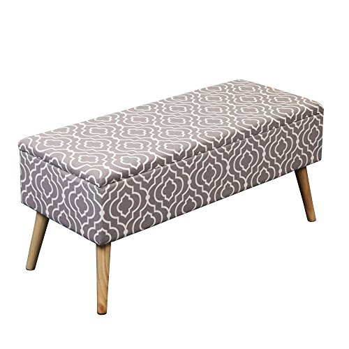Otto & Ben 37-in EASY LIFT TOP Upholstered Ottoman Storage Bench – Moroccan Grey feat. cushioned seating with hidden storage / pneumatic hinge / pre-drilled real wooden - Upholstered Modern Ottoman