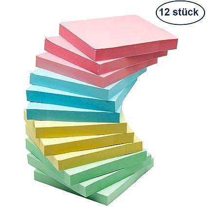 12St/ück Haftnotizen 76x76mm Super Sticky Notes selbstklebende Haftnotizzettel Sticky Notes Klebezettel bunt zettel farbig Notizbl/öcke f/ür B/üro Haus,6 leuchtende Farben