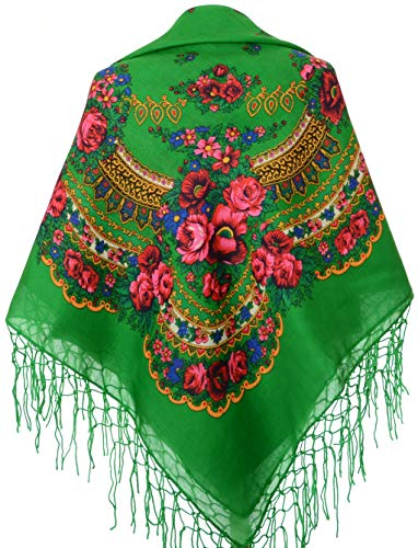 (Scarf Wrap, Floral Shawl for Women, Traditional Ukrainian Polish Russian Style Neck Scarf, Fringed Vintage Head Scarf, A Thoughtful Birthday, Anniversary or Mother's Day Gift, 59 X 59)