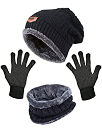 Slouchy Beanie Gloves For Women Winter Hat Knit Warm Snow Skull Cap Touch Screen Mittens