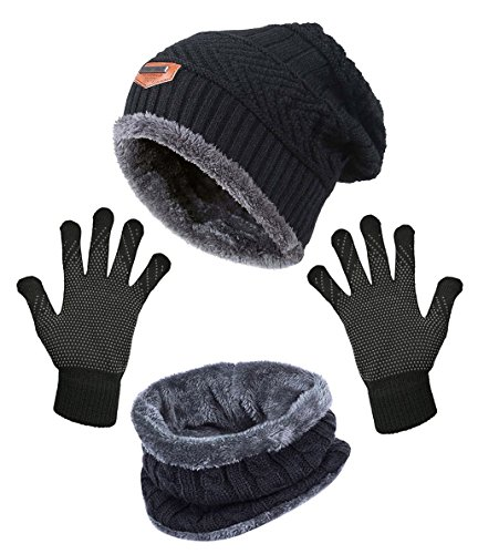 y Beanie Scarf Gloves Set for Women Skull Cap Infinity Scarves Touch Screen Mittens ()