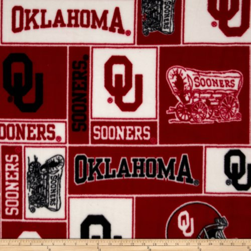 College University of Oklahoma Sooners 012 Print Fleece Fabric By the Yard ()