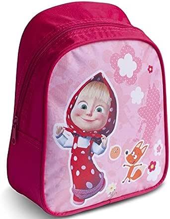 [RusToyShop] Preschool Backpack Masha and the Bear Baby Bag Small Backpack Kids Bag Girl Cute Backpack Kindergarten for Baby Gray Little Girl Pink