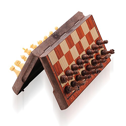 Square Travel Chess Set - ColorGo Magnetic Travel Chess Set, Portable Mini Chess Board Game for Adults and Kids