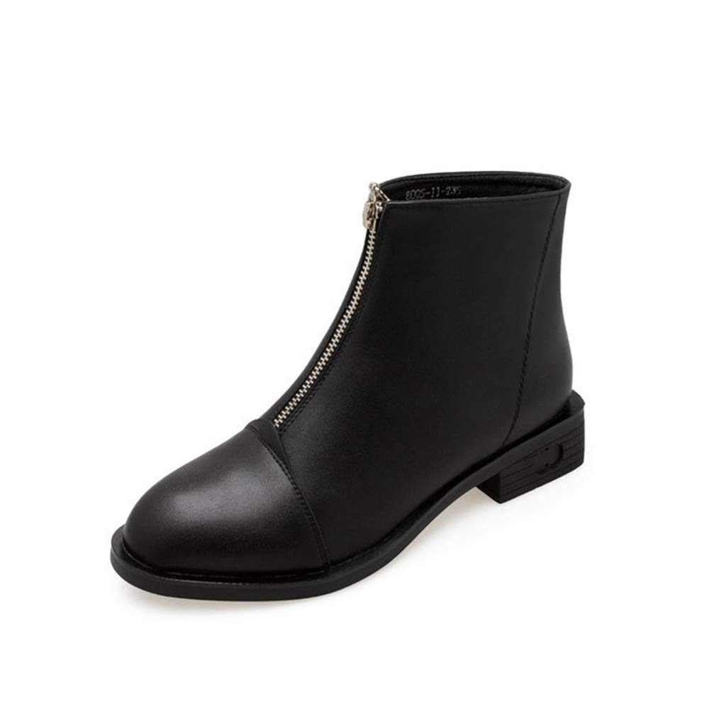 pooxun Ladies Boots Front Zip Martin Boots Winter Boots Single Boots (US 5) Black by pooxun