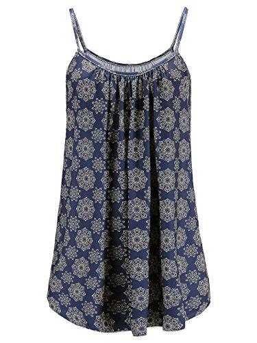 Womens Plus Size Cami Basic Camisole Tank Top (Bule Boho Print 2X)