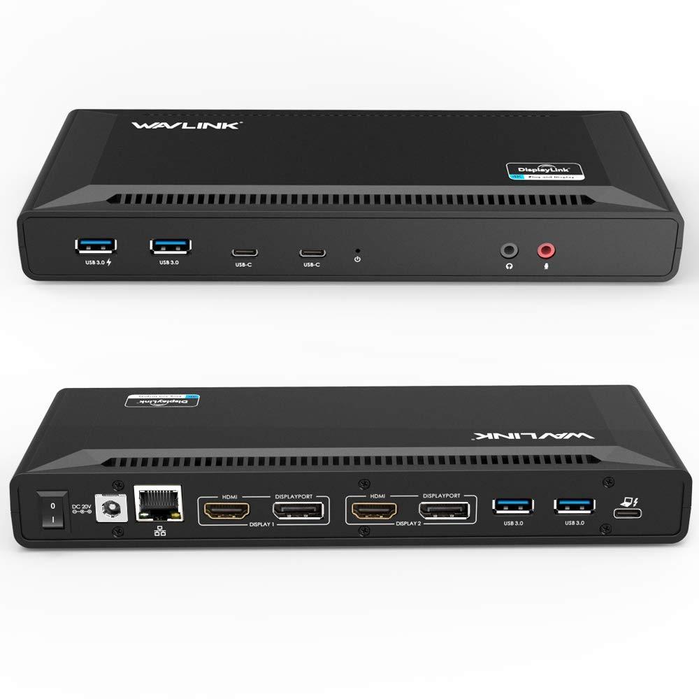 Wavlink ユニバーサルUSB C ウルトラ5K ドッキングステーション デュアル4Kドッキングステーションビデオ出力 windows 7/8 / 8.1/ 10サポート(HDMIとDisplay ×2セット、ギガビットイーサネット、USB C、USB 3.0x6、オーディオ、マイク) B071DNW647 5K/デュアル4K  5K/デュアル4K