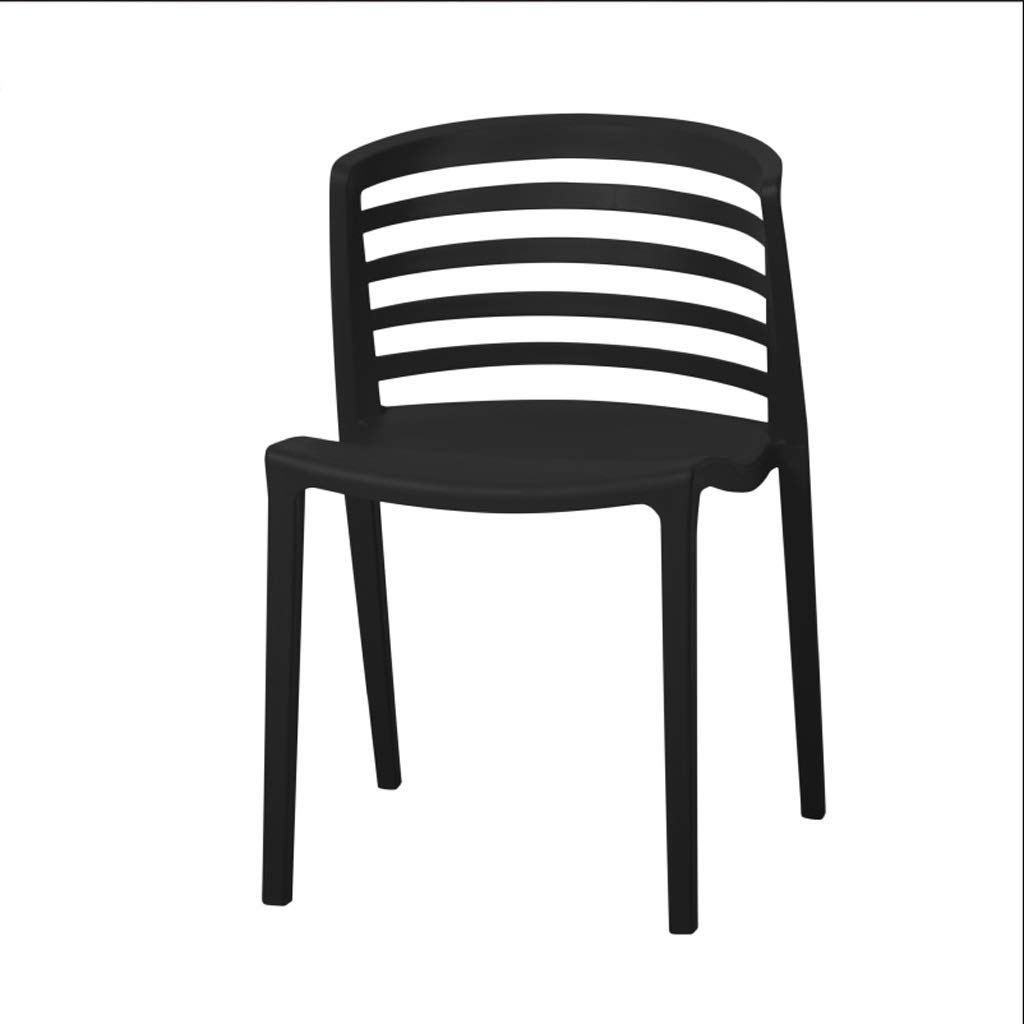 Black 505575cm Restaurant Plastic Chair Back Chair Cafe Chair Office Chair Bedroom Dormitory Chair Stackable (color   Black, Size   50  55  75cm)