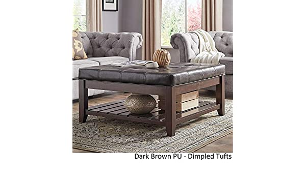 Pleasing Inspire Q Lennon Espresso Planked Storage Ottoman Coffee Table By Classic Dark Brown Pu Dimpled Tufts Onthecornerstone Fun Painted Chair Ideas Images Onthecornerstoneorg