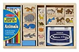 Melissa & Doug Wooden Stamp Set: Animals - 16 Stamps, 4 Colored Pencils, Stamp Pad