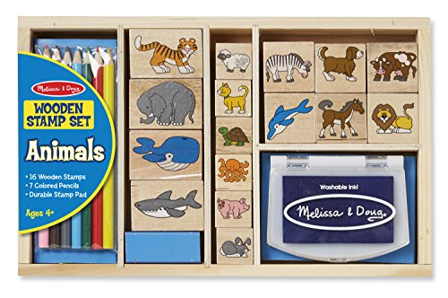 Animal Doug Set Stamp - Melissa & Doug Wooden Stamp Set: Animals - 16 Stamps, 7 Colored Pencils, Stamp Pad