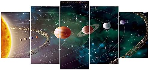 Geves Planets Solar System Galaxy Universe Wall Art Painting Modern Home Decoration 5 Pieces Contemporary Giclee Canvas Prints Artwork Stretched And