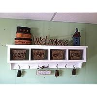 Wood Cubby Wall Shelf with 4 Cubby Holes 48 wide Wall Shelf Coat Rack Storage Shelf Organizer
