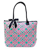 Ngil Quilted Cotton Owl Medium Tote Bag (Geo Turquoise Pink)