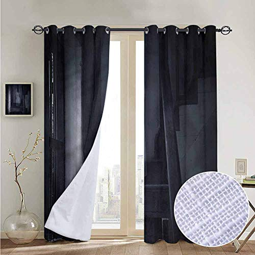 NUOMANAN Room Darkening Wide Curtains Halloween,Ghost Girl on Stairway,Light Blocking Drapes with Liner -
