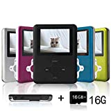 Lecmal Portable MP3 Player MP4 Player with 16Gb Micro SD Card and FM Radio Function, Economic Multifunctional Music Player with Mini USB Port, Mp3 Voice Recorder, Media Player for Kids- pitchdark