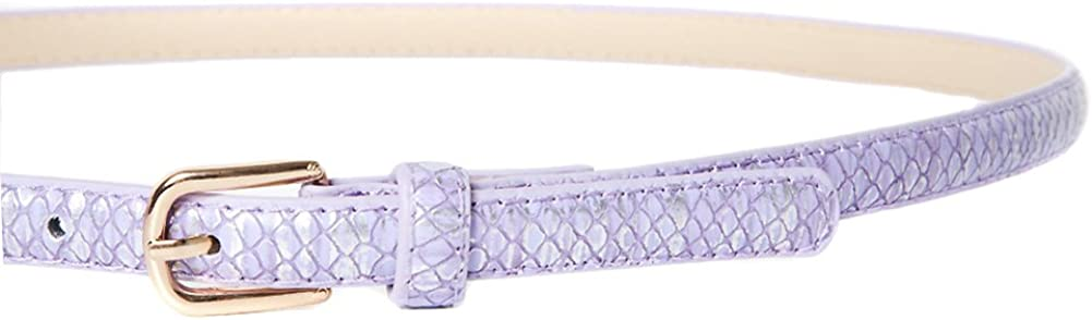 Women/'s Lilac /& Silver Snakeskin Effect Skinny Belt with Gold Buckle