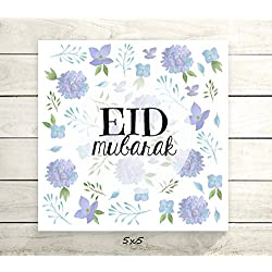 "Eid Mubarak - Flat 5x5"" Greeting Card or Art Print - Blue Purple Floral Design"