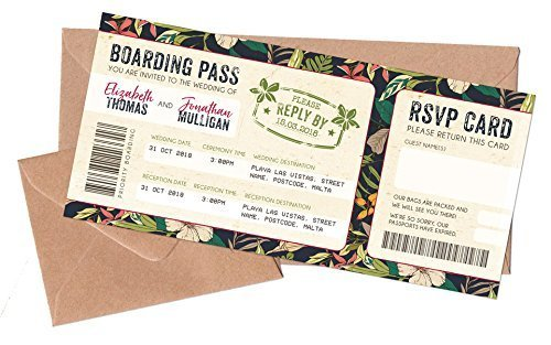 Set Of 10 X Wedding Boarding Pass Tickets And Envelopes Tropical