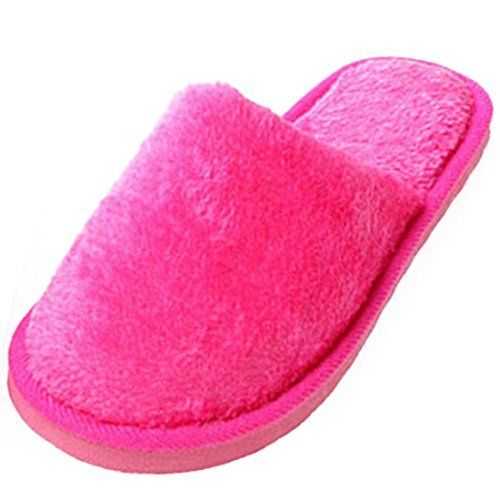 Beautylife Unisex Winter Plush Indoor House Shoes Solid Color Soft Slipper Rose