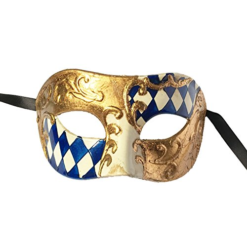 Xvevina Venetian Party Mask Men Mask (blue/gold checked)