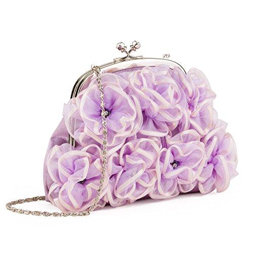 Farfalla 90326 - Bolso estilo sobre de satén mujer púrpura - morado