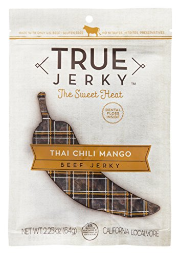 True Jerky Beef Jerky, Thai Chili Mango, The Sweet Heat, Gluten Free, No Preservatives, 2.25 Ounce (3 Pack)