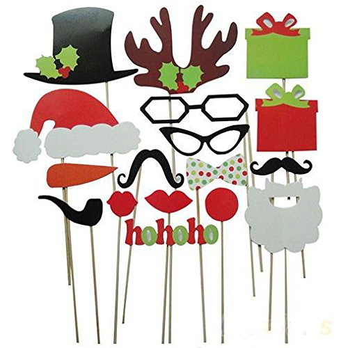 SOLEDI Christmas Photo Booth Props 17 Pieces DIY Kit XMAS Party Supplies JUST for Kids and - Sunglasses Rudolph