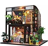 MiCute Doll House Miniature DIY House Kit Creative Room With Furniture Birthdays, Valentine, Crafts, Collectors Gift for Lovers, Friends, Kids (Waiting For The Coffee)