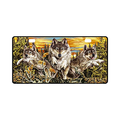 Wolf Strong And Durable Aluminum Car Metal License Plate Frame for Women/Men Two Holes Tag 11.8