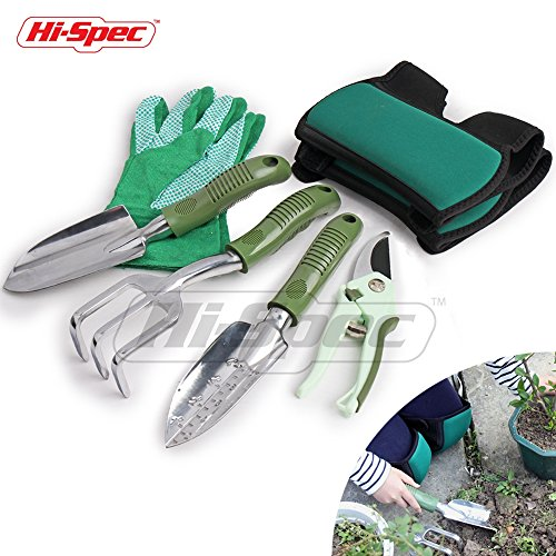 Hi-Spec 6 pc Garden Tool set with Pruning Shears, Cast-Aluminum Heavy Duty Hand Tools that NEVER Rust, Heavy Duty Work Gloves & Soft Adjustable Knee Pads for Gardening, Pruning, Planting, and Potting (Metal Shear Kit)
