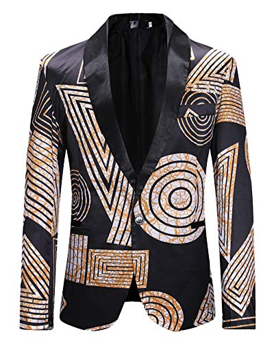 Un Blazer Casual Noir Veste Imprimé Bouton Slim Costume Manteau Hommes Fit Hw6qxY