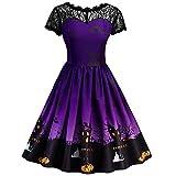 ZAFUL Women Vintage Party Wear Halloween Pumpkin Moon Lace Pin Up Short Sleeve A-Line Dress(Purple,M)