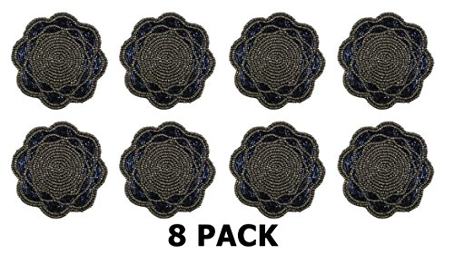 Cotton Craft - 8 Pack - Hand Crafted Scalloped Beaded Coaste