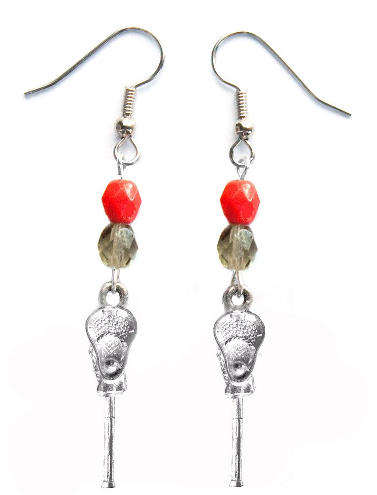 ''Lacrosse Stick & Ball'' Lacrosse Earrings (Team Colors Red & Grey)