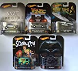 Hot Wheels set of 5 Retro Vehicles. Batwing, Aston Martin DB10, Mystery Machine, Back to the Future Time Machine, USS Enterprise NCC-1701