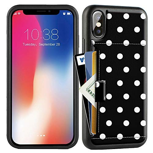 iPhone Xs Max Case, iPhone Xs Max Wallet Case with Credit Card Holder Slot Slim Leather Pocket Protective Print Case Cover for Apple iPhone Xs Max, 6.5 inch (Aries Series) - Polka Dots