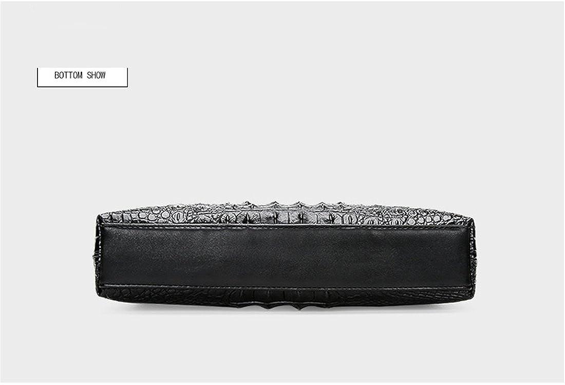 Genuine Leather Vertical Briefcase Alligator Print Business Shoulder Bag for Men
