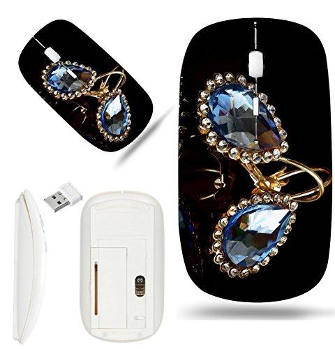 Luxlady Wireless Mouse White Base Travel 2.4G Wireless Mice with USB Receiver, 1000 DPI for notebook, pc, laptop,mac design IMAGE ID: 34799253 Earrings from gold against a dark background Two - White Id Earrings