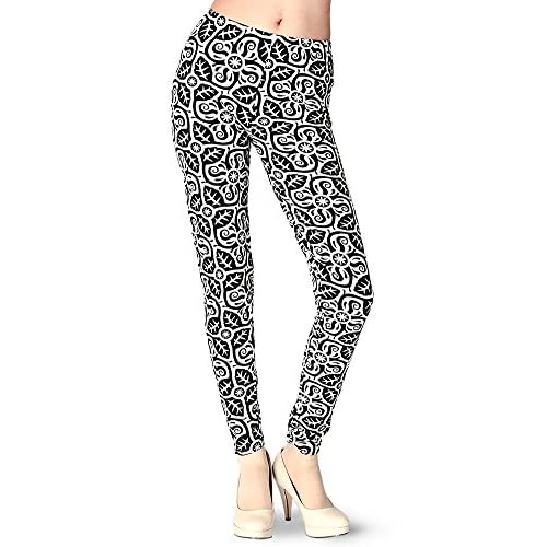Nice Floral Swirl Leggings Black & White Color Size : One Size supplier
