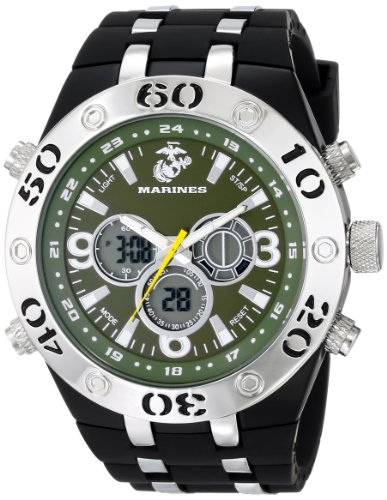 Wrist Armor Mens 37100010 C23 Analog-Digital Display Quartz Watch with Black Rubber Strap