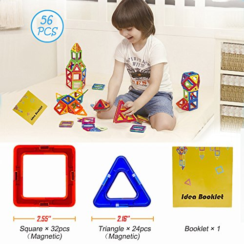 Soyee Magnetic Blocks | STEM Learning Toys | Educational Construction Magnetic Building Tiles Set for 3,4 and 5+ Year Old Boys & Girls | Creative Fun Kit Magnet Toys Gift for Kids-56pcs by Soyee (Image #2)