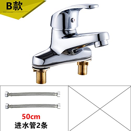 4 LHbox Basin Mixer Tap Bathroom Sink Faucet Smell the basin faucet hot and cold two hole faucet basin sink faucet full copper Washbasin Faucet I, paragraph 2 of the +60CM Hose