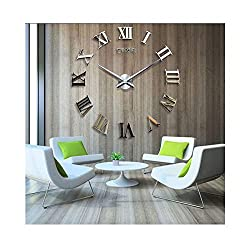 Time Letters Roman Numerals Large Size Modern DIY Frameless 3D Big Mirror Surface Wall Clock Oversized Clock Removable Home Decoration Living Room Décor Wall Sticker Meeting Room Watches Decor (Gold)