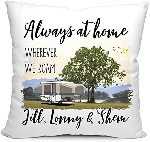 Happy Camper World Personalized Camping Pillow, Always at Home Wherever We Roam, Pop Up Tent Trailer Decor White Poplin, Tan Pop-Up