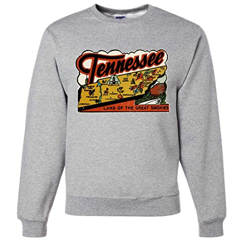 Vintage State Sticker Tennessee Crewneck Sweatshirt - Ash Medium