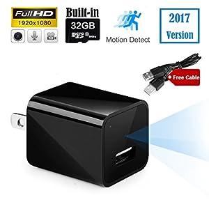 Spy Camera Mini Hidden Nanny Cameras USB Wall Charger Adapter 1080P HD 32GB Internal Memory