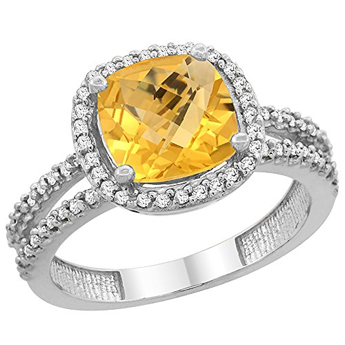 - 14K White Gold Natural Citrine Ring Cushion-cut 8x8 mm 2-row Diamond Accents, size 6